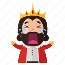 cry, emoji, emoticon, king, sad, sticker icon