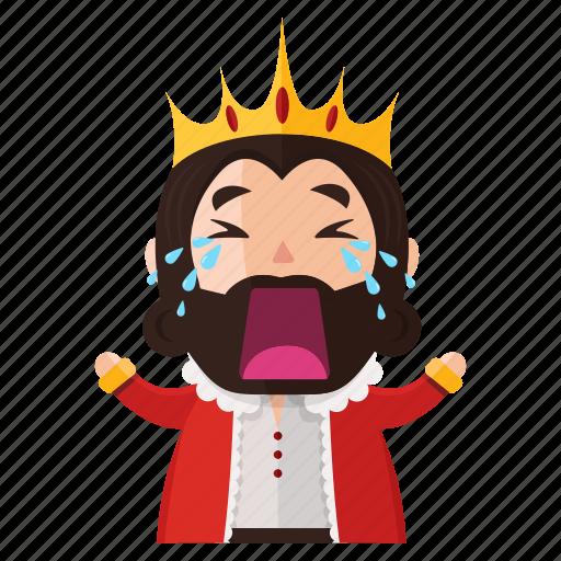 cry, emoji, emoticon, king, sad, sticker icon