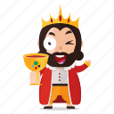 beverage, drink, emoji, emoticon, king, sticker icon