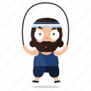 emoji, emoticon, exercise, jumprope, king, sticker icon