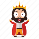 emoji, emoticon, happy, king, sticker icon