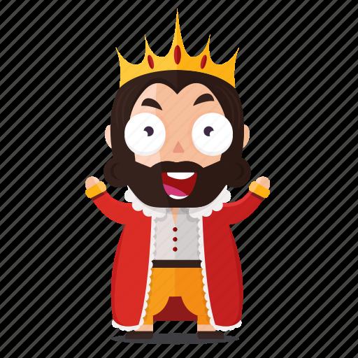 emoji, emoticon, happy, king, sticker icon