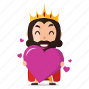 emoji, emoticon, heart, king, love, sticker icon