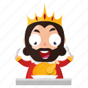 emoji, emoticon, food, king, meal, sticker icon