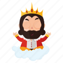 emoji, emoticon, king, meditation, sticker icon