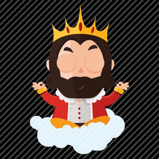 emoji, emoticon, king, meditation, sticker icon