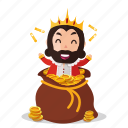 emoji, emoticon, king, money, sticker icon
