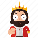 accuse, emoji, emoticon, king, point, sticker icon