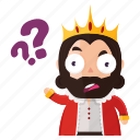 emoji, emoticon, king, question, sticker icon