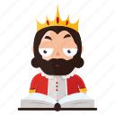 emoji, emoticon, king, reading, sticker icon