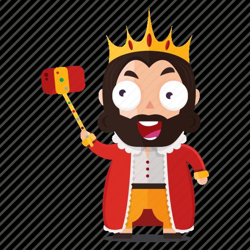 emoji, emoticon, king, selfie, sticker icon