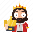 award, emoji, emoticon, king, sticker, trophy icon