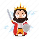 emoji, emoticon, king, ready, sticker, war icon