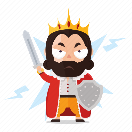 emoji, emoticon, king, ready, sticker, war icon