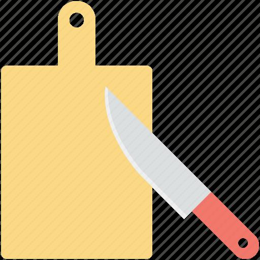 chopping block, chopping board, cutting board, kitchen utensil, knife icon