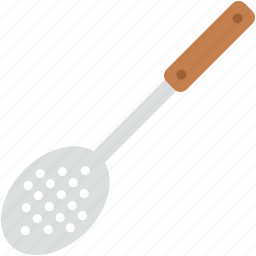 cooking spoon, kitchen accessory, kitchen tool, skimmer utensil, utensil icon