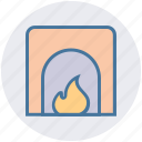 fire, fire place, heat, home, house, kitchen, warm icon