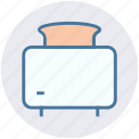 bread, breakfast, hot, kitchen, toast, toaster icon