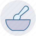 bowl, drinking, hot food, hot soup, snack, soup, spoon icon
