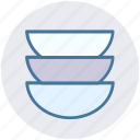 bowls, dish, kitchenware, plates, stack of dishes, utensils icon