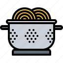 colander, cook, cooking, food, kitchen, pasta, spaghetti