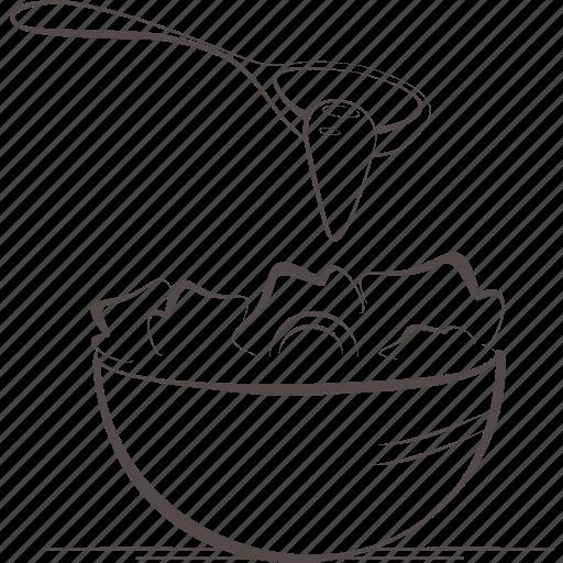 bowl, food, salad, spoon, vegetables icon