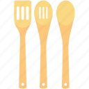 cooking spoons, cutlery, kitchen, spatula, utensils