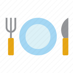 cutlery, fork, kitchen, knife, placemat, plate, restaurant icon