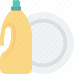 dish soap, dishwashing liquid, dishwashing soap, kitchen, plate icon