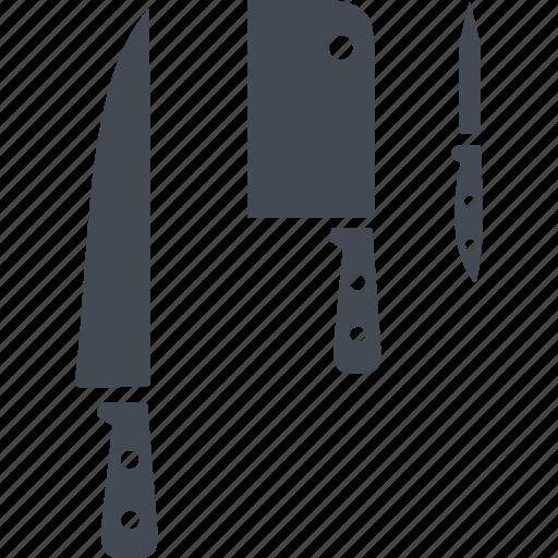 kitchen, kitchenware, knives, set of kitchen knives icon