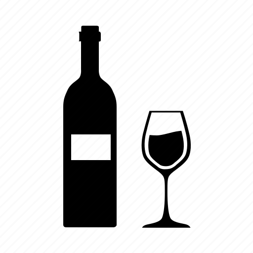 bottle, glass, kitchen, wine icon