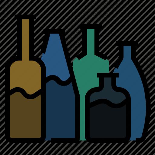 alcohol, beverage, bottle, bottles, drink, glass, wine icon