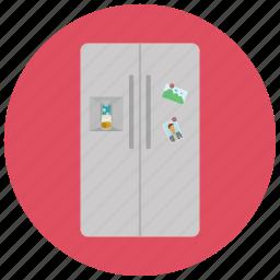 appliances, door, double, food, fridge, home, storage icon