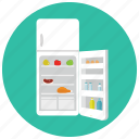 appliances, food, fridge, home, kitchen, open, supply icon