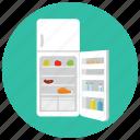 appliances, food, fridge, home, kitchen, open, supply icon