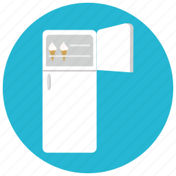 appliances, food, freezer, home, open, storage, supply icon