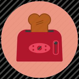 appliances, bread, breakfast, home, kitchen, toaster icon