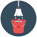 bucket, home, housekeeping, mop, tool, water icon