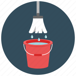 bucket, home, housekeeping, mop, tool, water icon