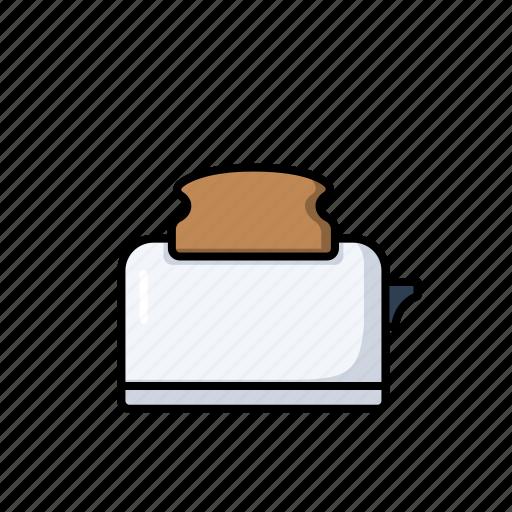 appliances, breakfast, kitchen, toast, toaster icon