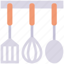 kitchen, spatchula, spoon, tool, whisk
