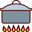 big, cooking, fire, flame, hot, pot icon