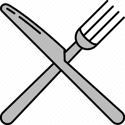 cutlery, eat, food, fork, knife, silver icon