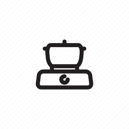 cooking, food, kitchen, outline, pan, stove icon