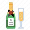 bottle, champagne, drink, food, kitchen icon
