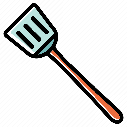 cooking tools, kitchen tools, long handle, slotted turner, tools and utensils icon