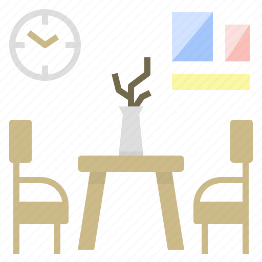 clock, dining, kitchen, photo, room, table icon