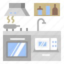 fumehood, kitchen, microwave, sink, stove icon