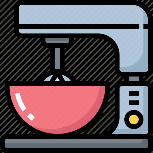 appliances, cooking, flour, food, kitchen, kitchenware, mixer icon