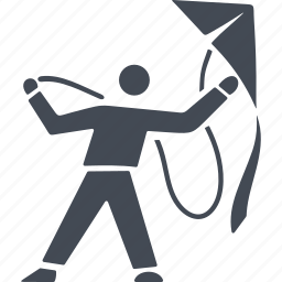 fly, flying, kite, launch a kite, play icon